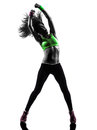 Woman exercising fitness zumba dancing silhouette one caucasian in on white background Royalty Free Stock Photo
