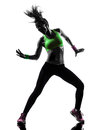 Woman exercising fitness zumba dancing silhouette one caucasian in on white background Stock Image