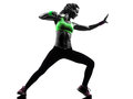 Woman exercising fitness zumba dancing silhouette one in on white background Stock Photography