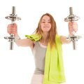 Woman exercising with heavy dumbells slim young metal isolated over white background Stock Photo