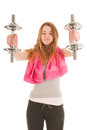 Woman exercising with heavy dumbells slim young metal isolated over white background Stock Photos