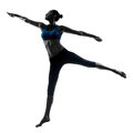 Woman exercising jumping stretching dancing Stock Photo