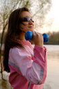 Woman Exercising in the Nature Stock Photo