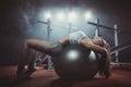 Woman exercising Pilates ball Royalty Free Stock Photo