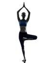 Woman exercising tree pose yoga Royalty Free Stock Photos