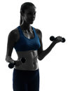 Woman exercising weight training portrait Stock Images