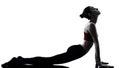 Woman exercising yoga sun salutation Royalty Free Stock Photo