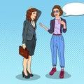 Woman Explaining Something to Thoughtful Businesswoman. Pop Art illustration