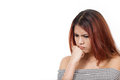 Woman expressing negative feeling boredom bad emotion trouble problem on white isolated background Royalty Free Stock Images