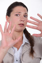 Woman expressing refusal closeup shot of with hands Stock Images