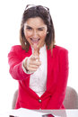 Woman with expression of confidence and cheerful beautiful Royalty Free Stock Images