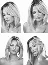Woman expressions beautiful x in monochrome collage Stock Photography