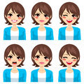 Woman expressions set attractive young brunette on six different face Royalty Free Stock Image