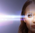 Woman eye with laser correction frame health vision sight Royalty Free Stock Images