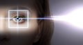 Woman eye with laser correction frame health vision sight Stock Photography