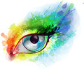 Woman eye made colorful splashes watercolor Stock Photography