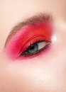 Woman eye with makeup close up of beautiful blue bright pink Stock Photography
