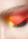 Woman eye with makeup close up of beautiful closed bright creative Royalty Free Stock Images