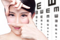 Woman and eye test chart Royalty Free Stock Photo