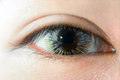 Woman eye wearing fancy contact lens Royalty Free Stock Photo