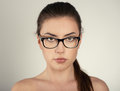 Woman in eyeglasses close up portrait of optician wearing spectacles Stock Photography