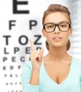 Woman in eyeglasses with eye chart medicine and vision concept Royalty Free Stock Photography