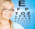 Woman with eyeglasses health and vision concept close up of beautiful young wearing Stock Photos