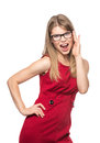 Woman in eyeglasses shouting successful business modern eyewear beautiful joyful emotional female red dress posing studio Royalty Free Stock Photos
