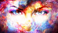 Woman eyes in cosmic background. Eye contact. Royalty Free Stock Photo