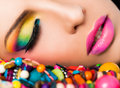 Woman face colourful make-up lips Royalty Free Stock Photo
