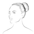 Woman face lineart sketch young beautiful art looking away Royalty Free Stock Photo