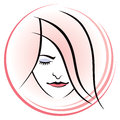 Woman face logo a icon of a s Stock Images
