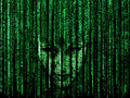 Woman face in matrix background green computer codeed with symbols and characters Royalty Free Stock Photography