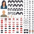 Woman face parts, character head, eyes, mouth, lips, hair and eyebrow icon set
