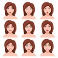 Woman Faces Vector Set Royalty Free Stock Photo