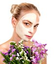 Woman with facial mask holding flower isolated Royalty Free Stock Image