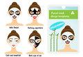 Woman facial sheet masks design templates. Package sample with cute girl with facial panda mask