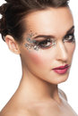 Woman with facny makeup portrait of beautiful glitter isolated on white background Stock Image