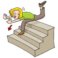 Woman falling down stairs an image of a a flight of Royalty Free Stock Photos