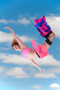 Woman falling through the sky beautiful young Royalty Free Stock Photo