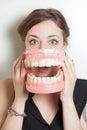 Woman false teeth Royalty Free Stock Photo