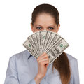 Woman with a fan of hundred dollar bills young Stock Images
