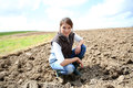 Woman farmer in the fileds Royalty Free Stock Photo