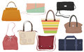Woman fashion bags collection. Casual female handbag front  icons set. Royalty Free Stock Photo