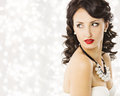 Woman Fashion Beauty Portrait, Luxury Lady Pearl Jewelry Royalty Free Stock Photo