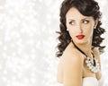 Woman Fashion Beauty Portrait, Luxury Lady Pearl Jewelry Royalty Free Stock Photo