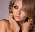Woman with fashion makeup portrait of beautiful young Stock Photography