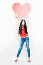 Woman Fashion Model with Big Red Heart Royalty Free Stock Photo