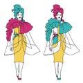 Woman fashion model on the catwalk, vector sketch illustration