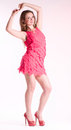Woman in fashion pink dress Stock Images